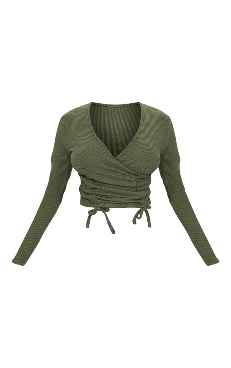 Khaki Textured Rib Ruched Waist Long Sleeve Crop Top 5