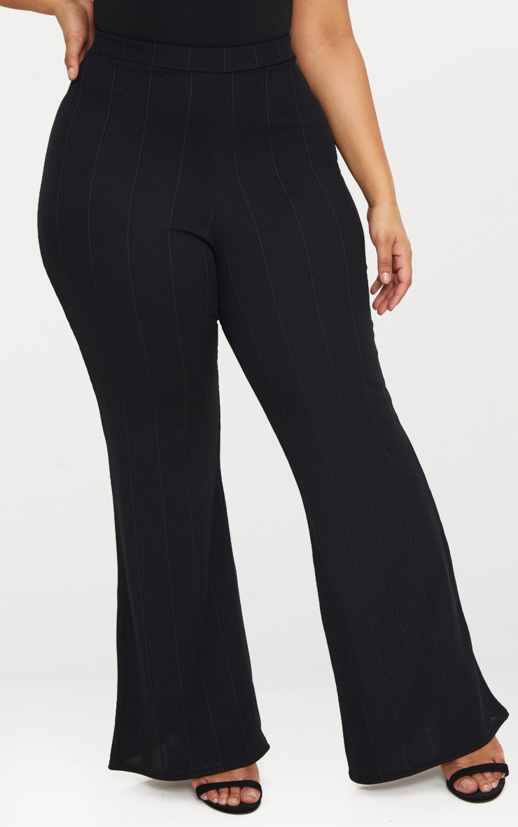 Plus Black Bandage Wide Leg Trousers 2