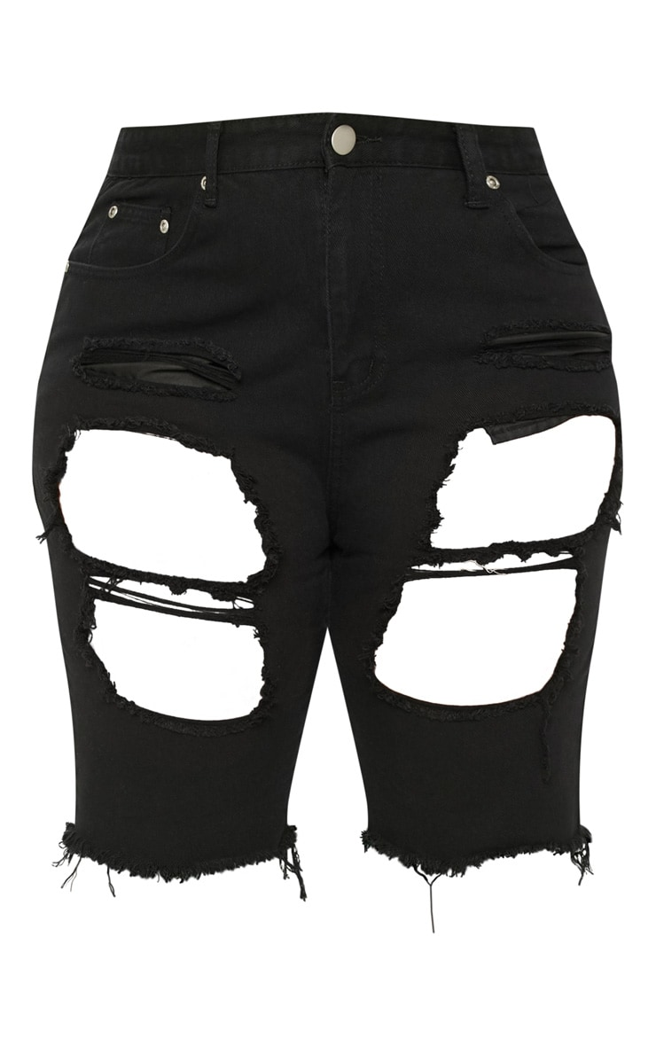 Plus Black Distressed Long Shorts 3