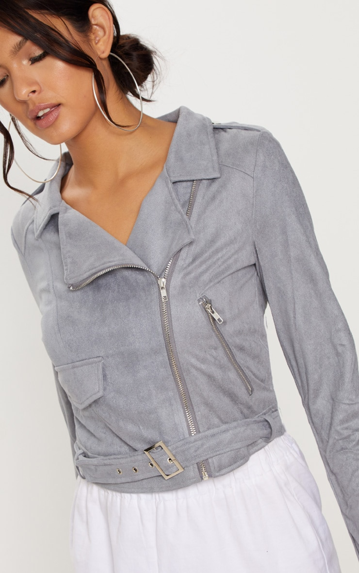 Niki Grey Faux Suede Biker Jacket 5