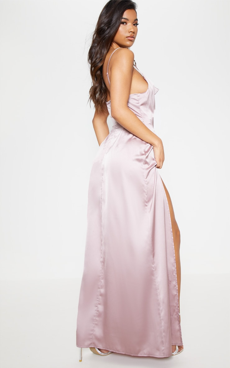 Pale Mauve Satin Ring Detail Cowl Extreme Split Maxi Dress 3