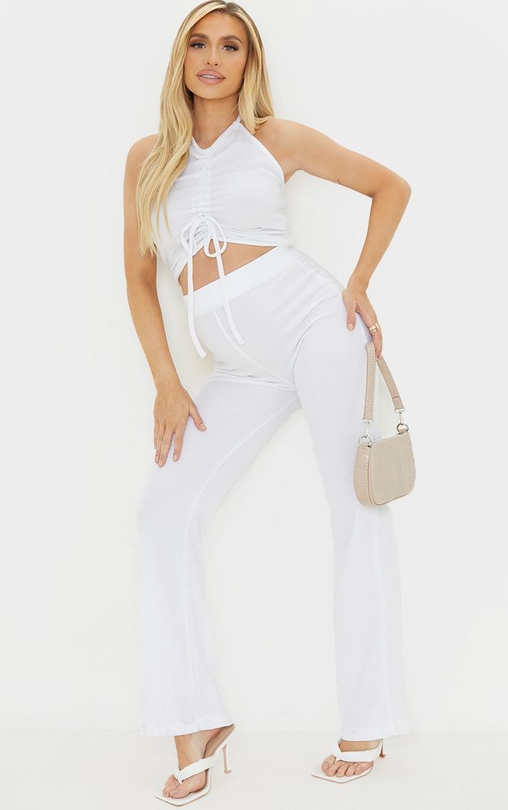 Maternity Cream Waffle Wide Leg Pants 1