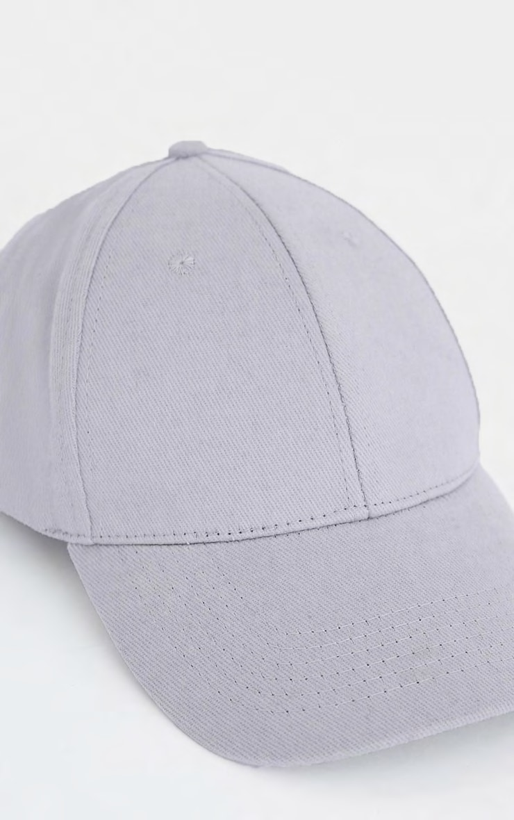 Light Grey Woven Baseball Cap 4