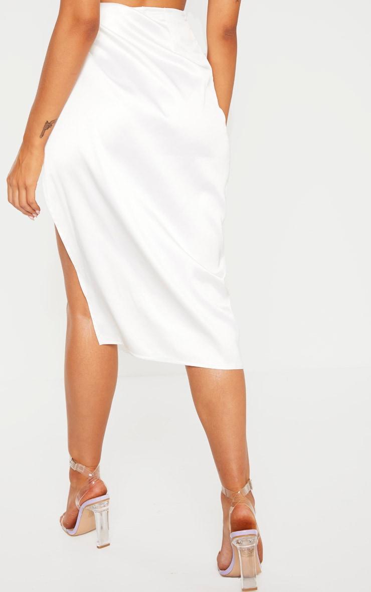 White Satin Twist Front Midi Skirt 4