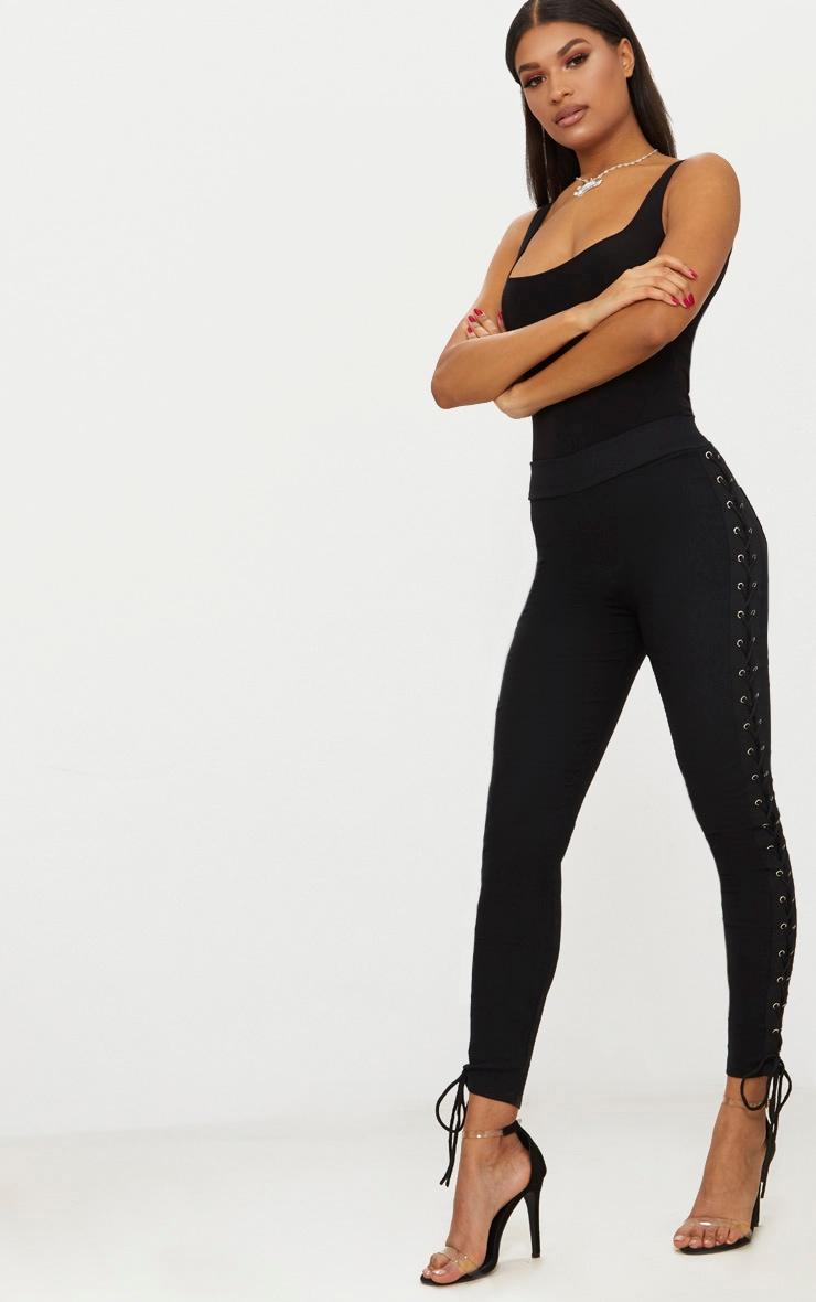 Black Lace Up Side Eyelet Trouser 1