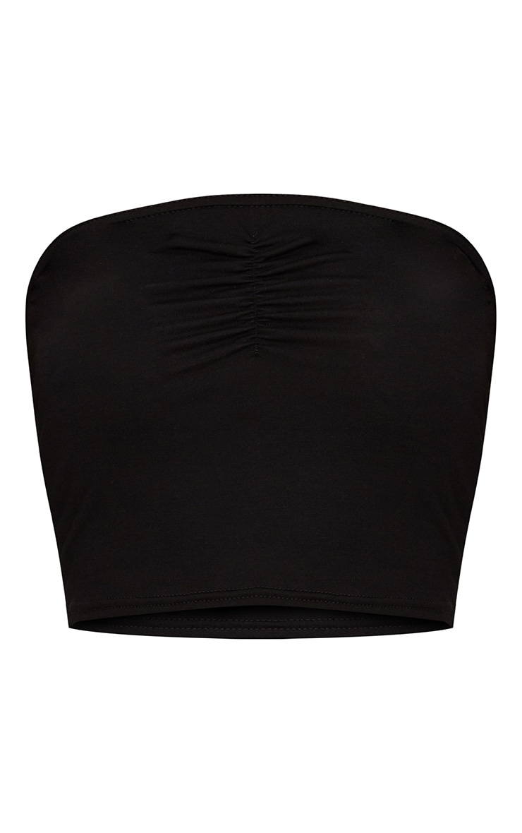 Black Ruched Front Bandeau Crop Top  3
