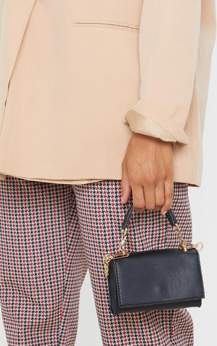 Black PU Rectangle Chain Detail Mini Bag 1