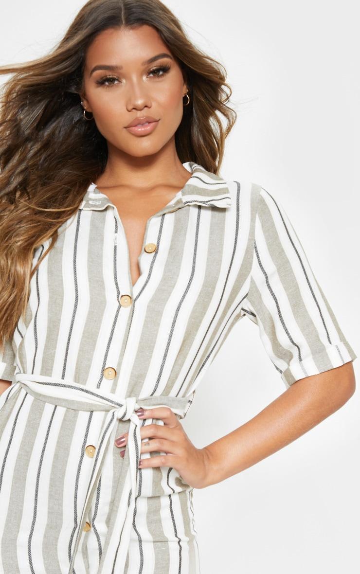 Khaki Woven Stripe Button Through Shirt Dress 5