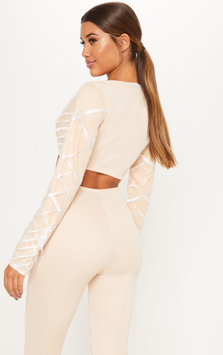 Nude Embroidered Sequin Frill Sleeve Crop Top 2