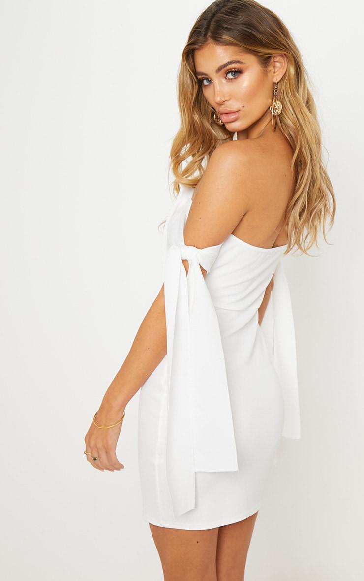 White Tortoise Shell Button Tie Sleeve Bardot Bodycon Dress 2