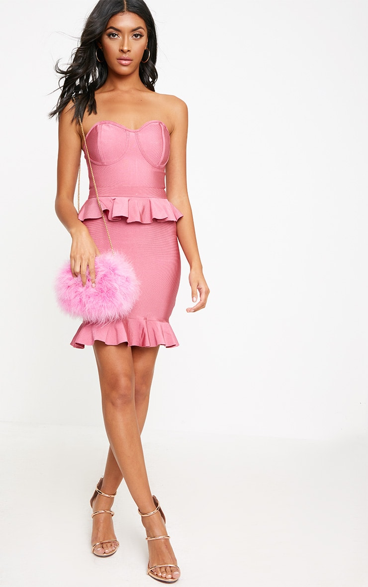 Rose Bandeau Bandage Frill Detail Bodycon Dress 4