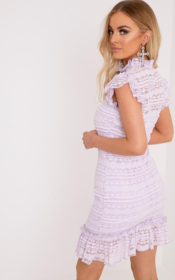Clariya Lilac Frill Neck Ruffle Layer Lace Bodycon Dress 2