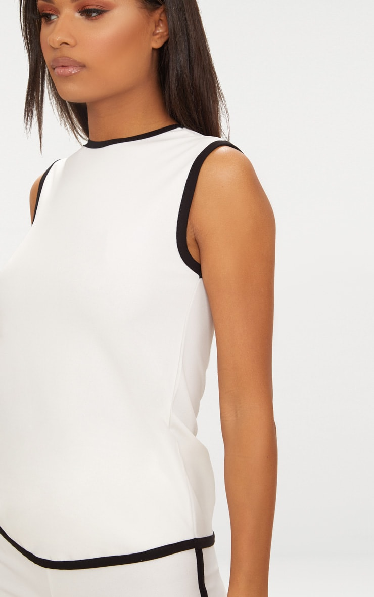 White Contrast Binding Tunic Top  5