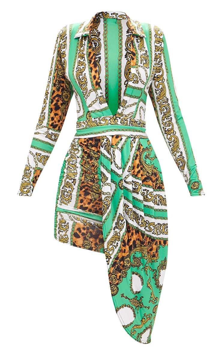 Green Chain Print Long Sleeve Drape Front Plunge Bodycon Dress 3