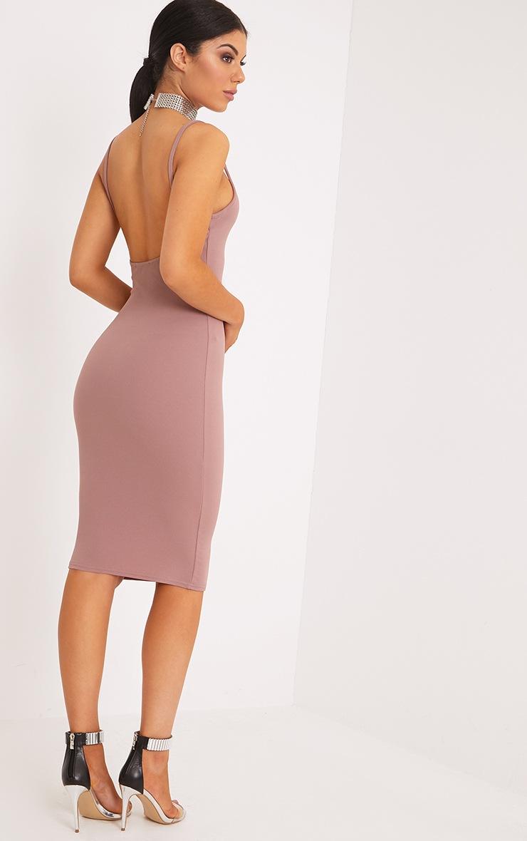 Karliah Truffle Strappy Low Back Midi Dress 2