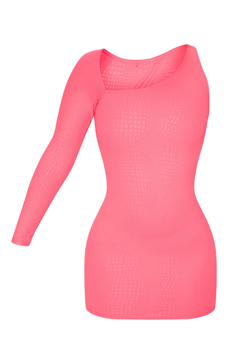Hot Pink Textured Croc Print Asymmetric Neck Bodycon Dress 3