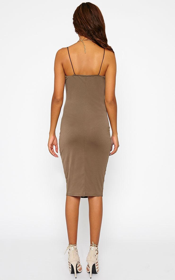 Saki Khaki Cowel Neck Dress 2