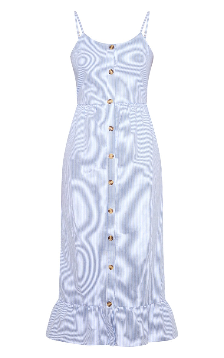 Dusty Blue Stripe Wooden Button Frill Midi Dress 3