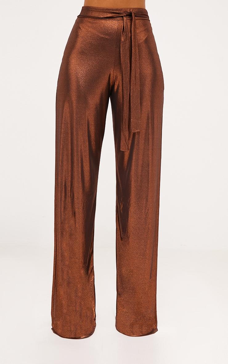 Copper Metallic Tie Waist Wide Leg Trousers 2