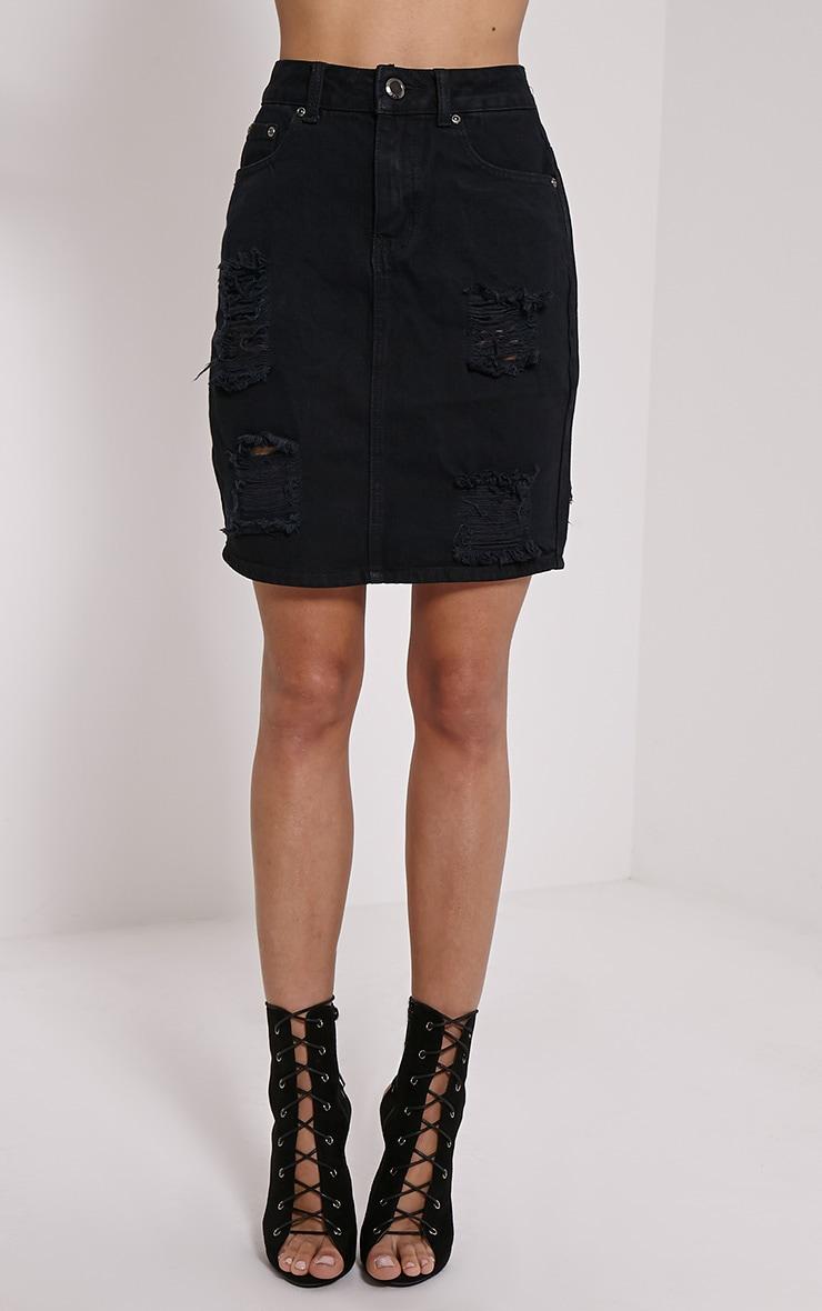 0608f294ec Poppa Black Ripped Denim Skirt | Jumpers | PrettyLittleThing