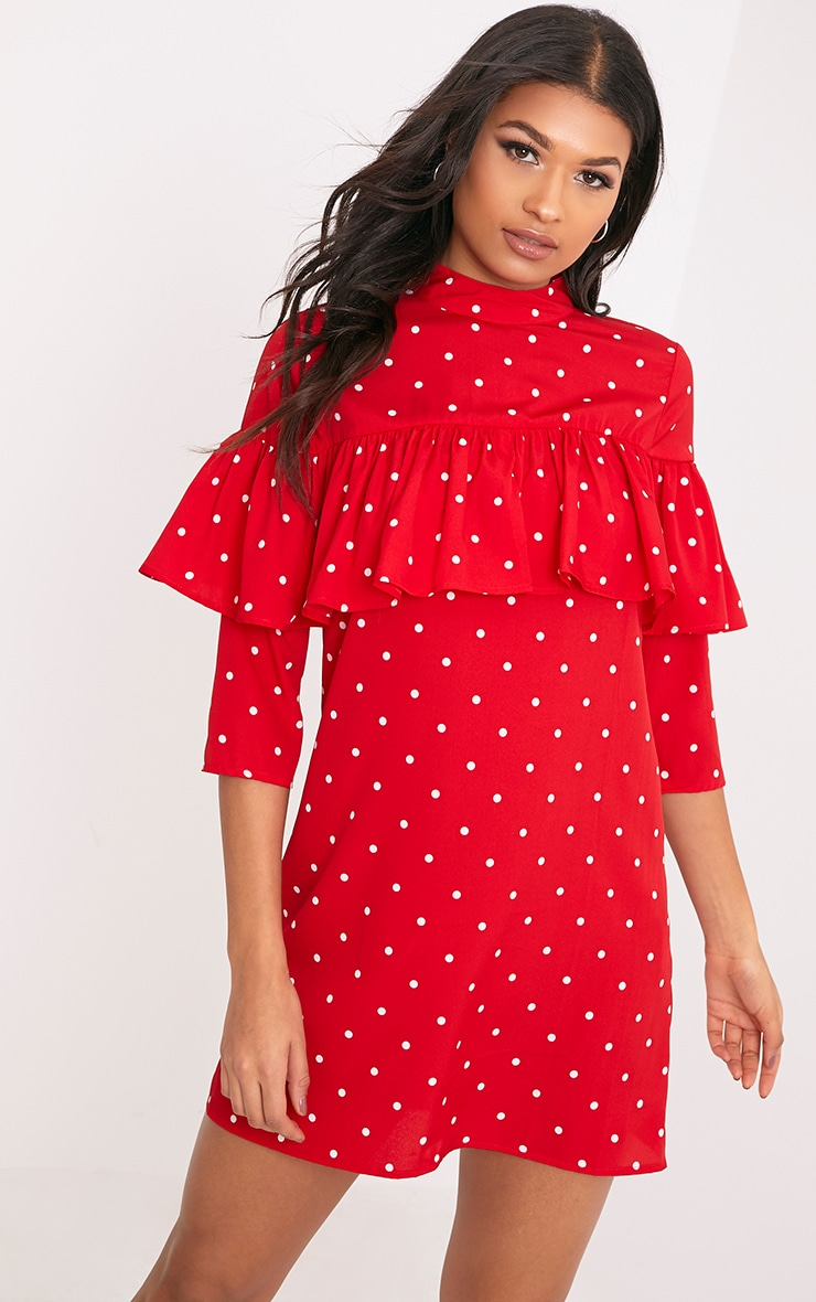 Shelarina Red Polka Dot Frill Shift Dress  1
