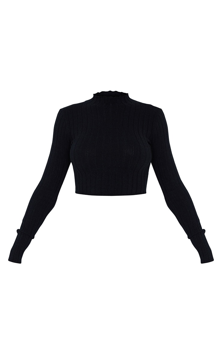 Black Wide Rib Knitted Long Sleeve Crop Sweater 5