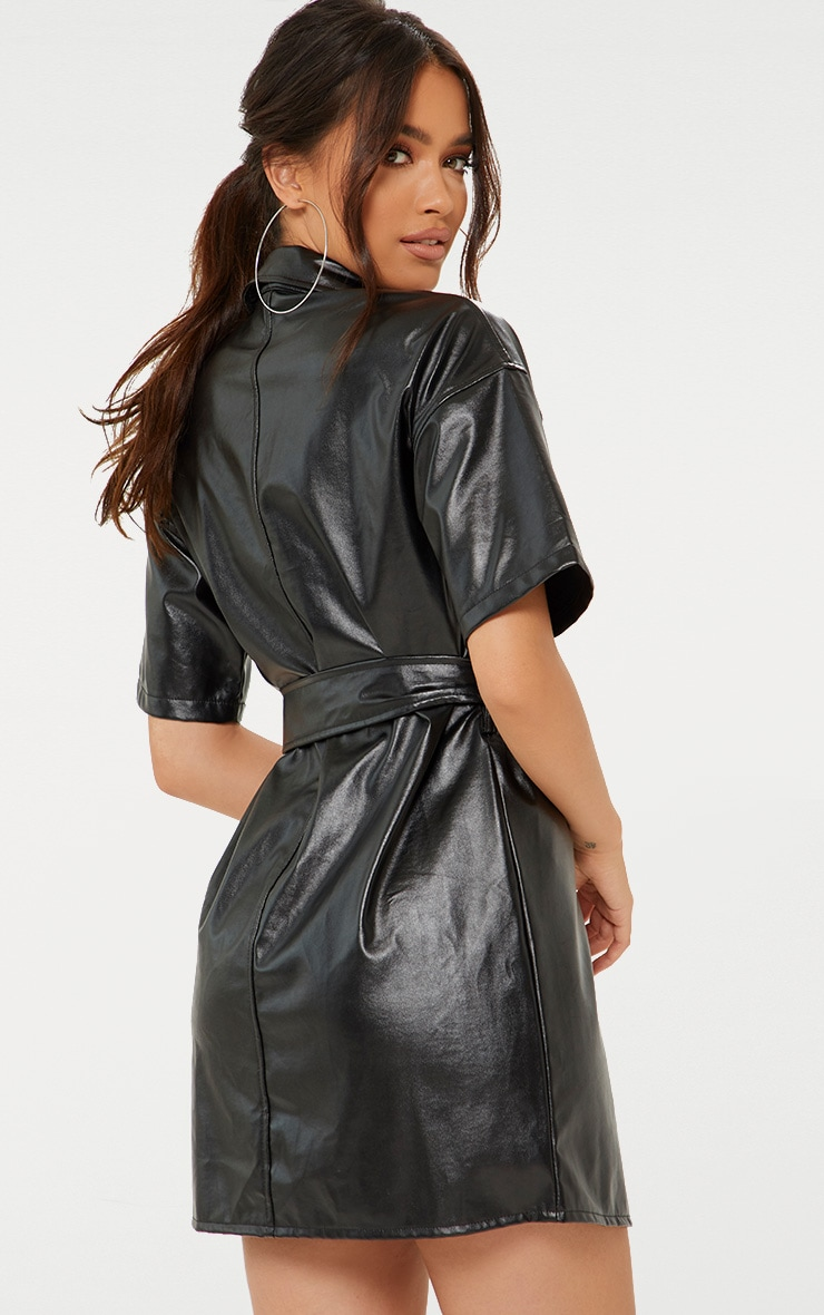 Black Button Up Tie Waist PU Shirt Dress 2