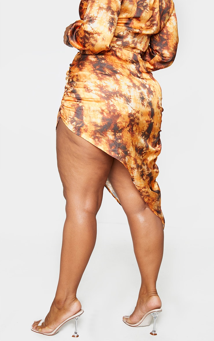 Plus Rust Tie Dye Ruching Side Midi Skirt 3