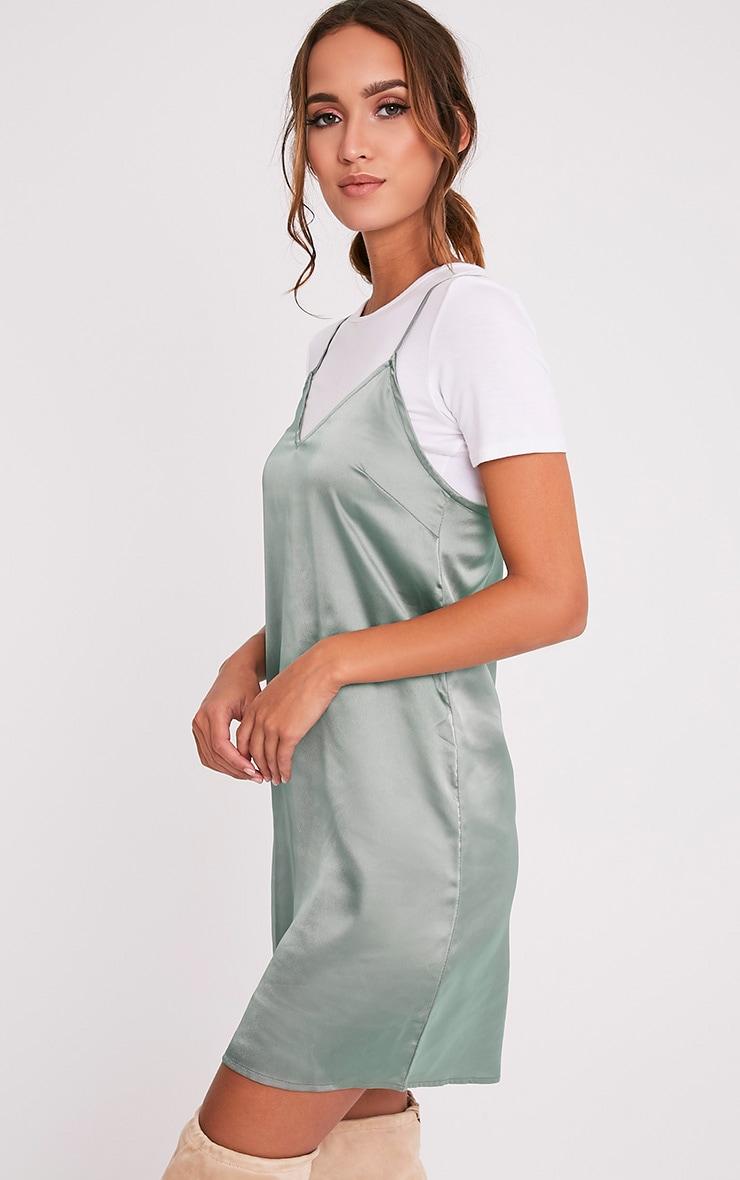 Stephany Sage Green Satin Slip Dress 4
