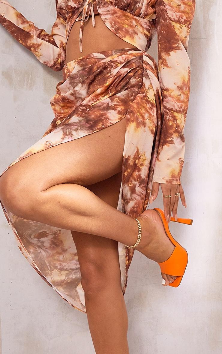 Brown Tie Dye Print Ruched Side Midi Skirt 4