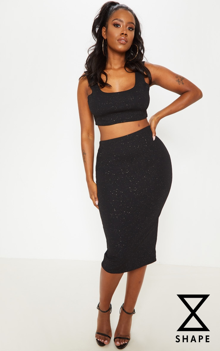 Shape Black Crepe Glitter Midi Skirt 1