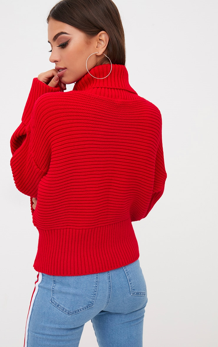 Red Extreme Sleeve Roll Neck Jumper 2
