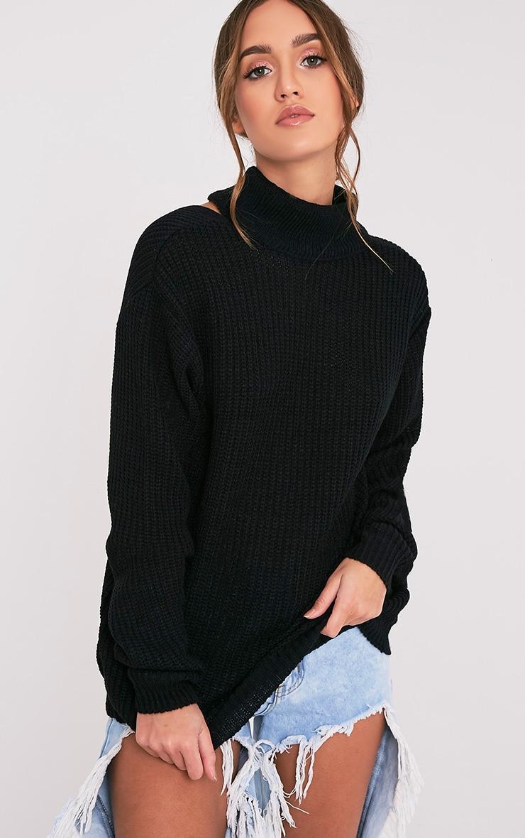 Shawnette pull tricoté noir à découpe au dos 4