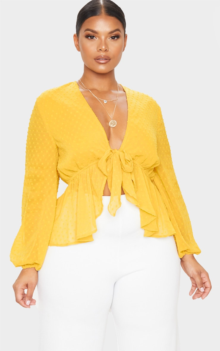 Plus Mustard Dobby Mesh Tie Front Blouse 1