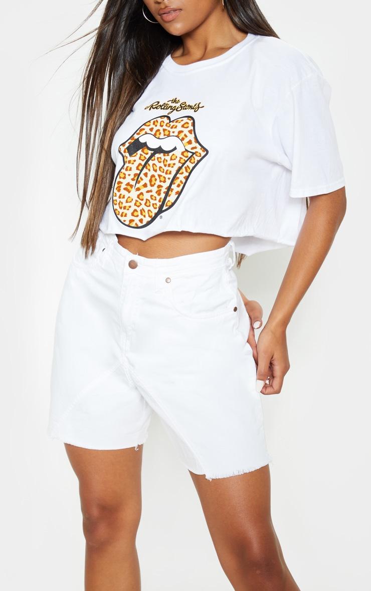 White Longline Denim Shorts 6