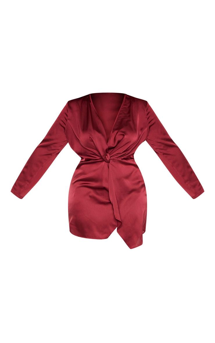 PLT Plus - Robe cache-coeur bordeaux satinée à manches longues torsadée 3