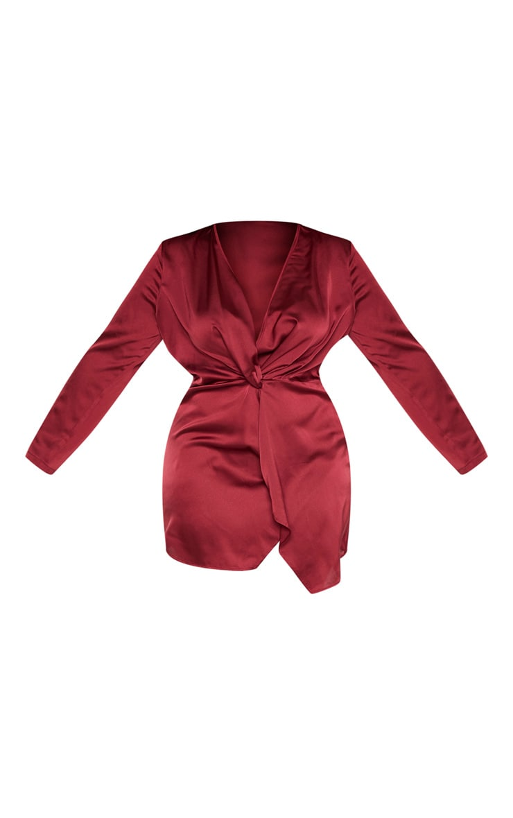 Plus Burgundy Satin Long Sleeve Wrap Dress 3