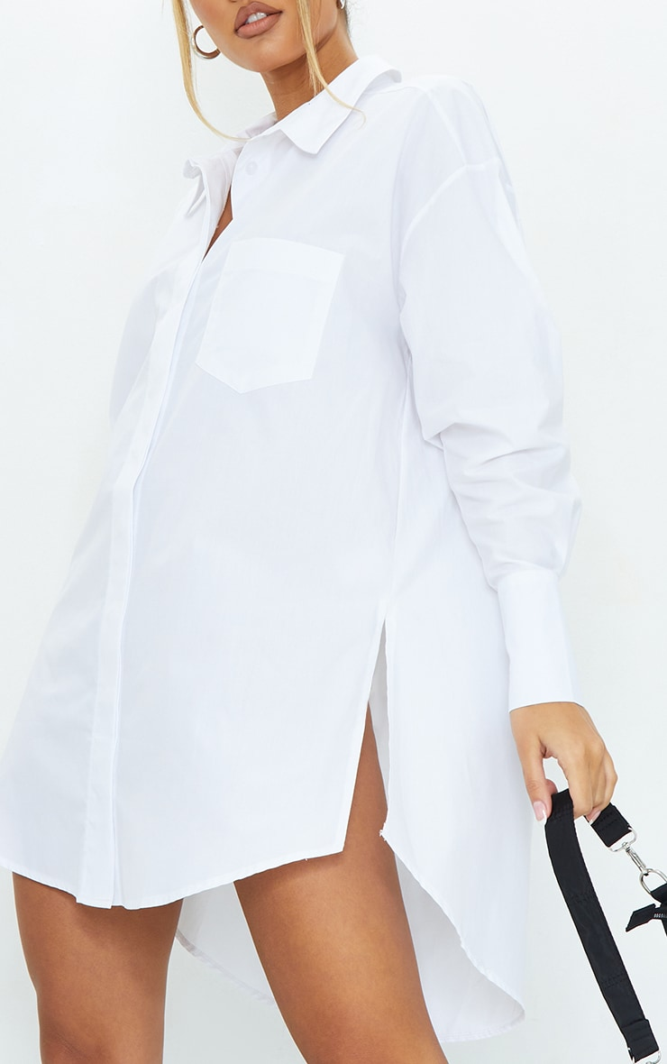 White Poplin Split Side Detail Shirt Dress 4