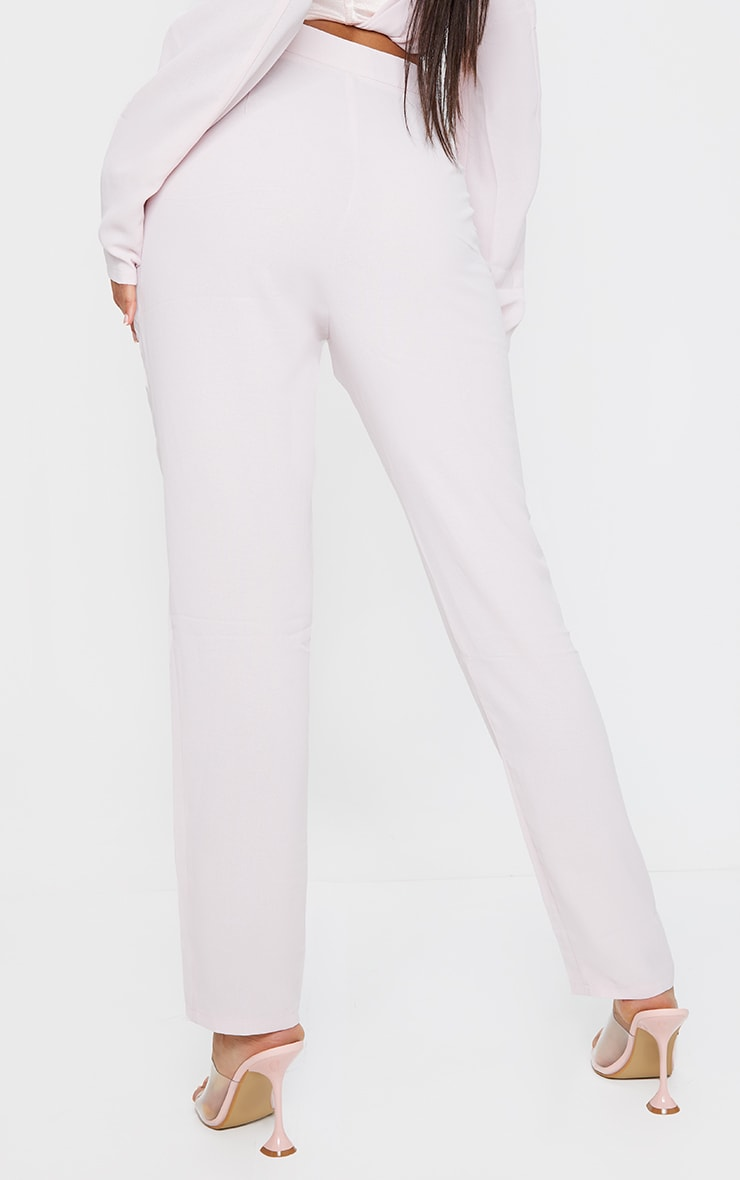 Light Pink Woven Lightweight High Waist Cigarette Trousers 3
