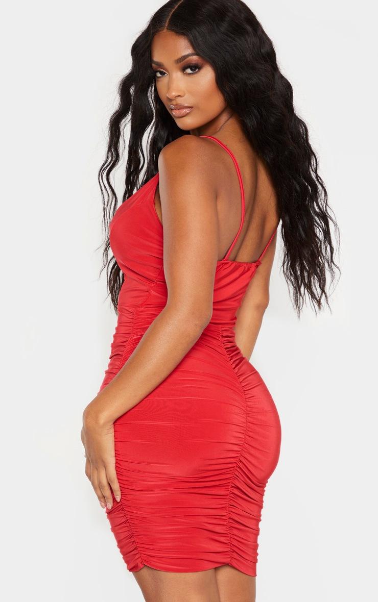 Shape - Mini-robe rouge froncée à bretelles fines 2