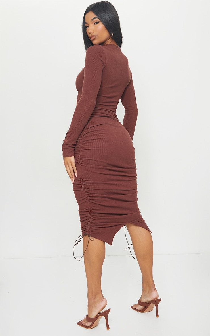 Chocolate Brown Ribbed Long Sleeve Ruched Midi Dress 2