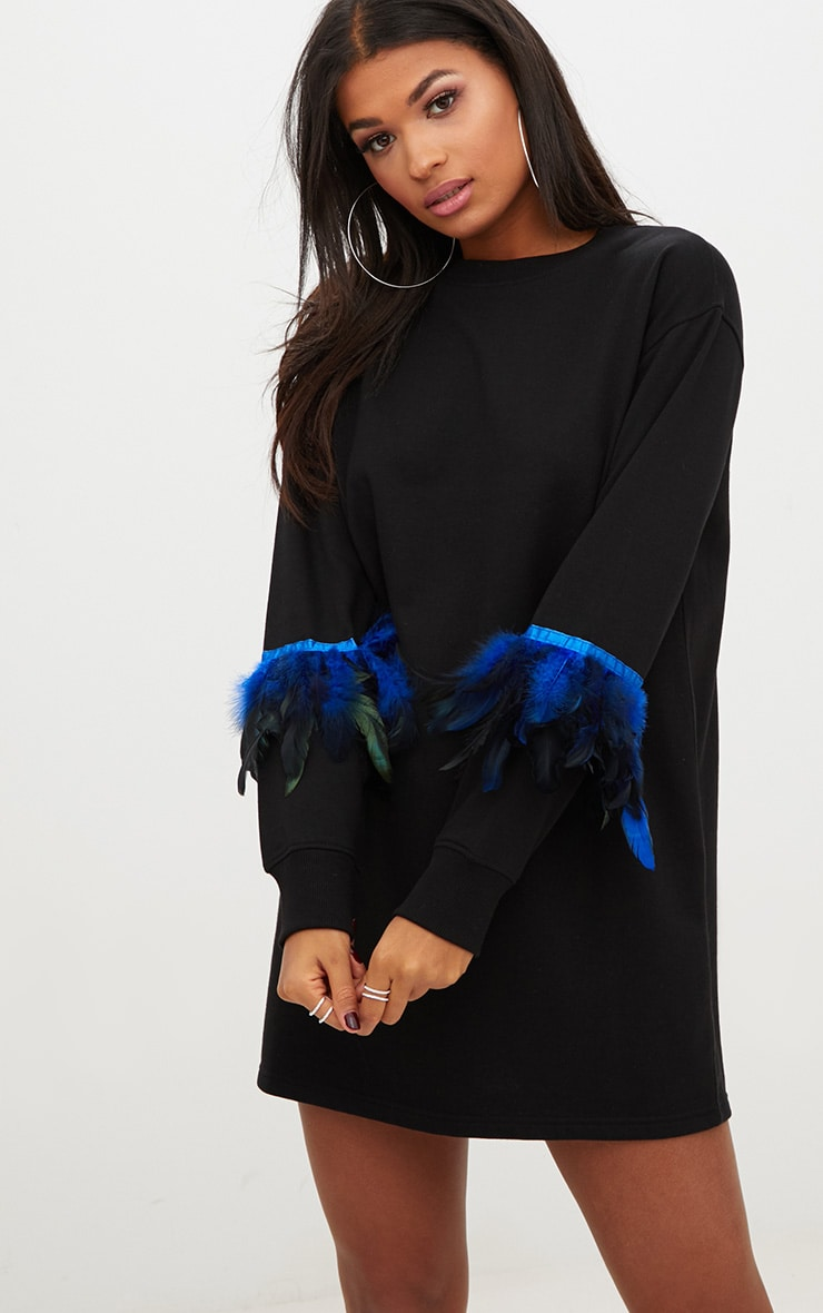 Black Loop Back Feather Sleeve Sweater Dress 1