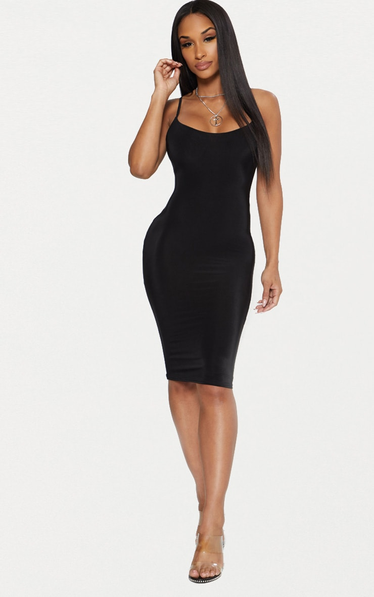 Black Second Skin Slinky Strappy Midi Dress 1