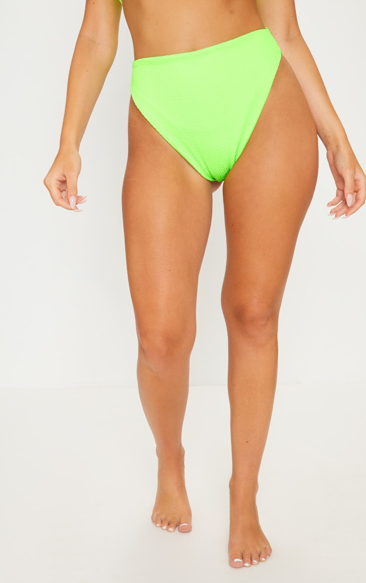 Lime Crinkle High Waisted High Leg Bikini Bottom 2