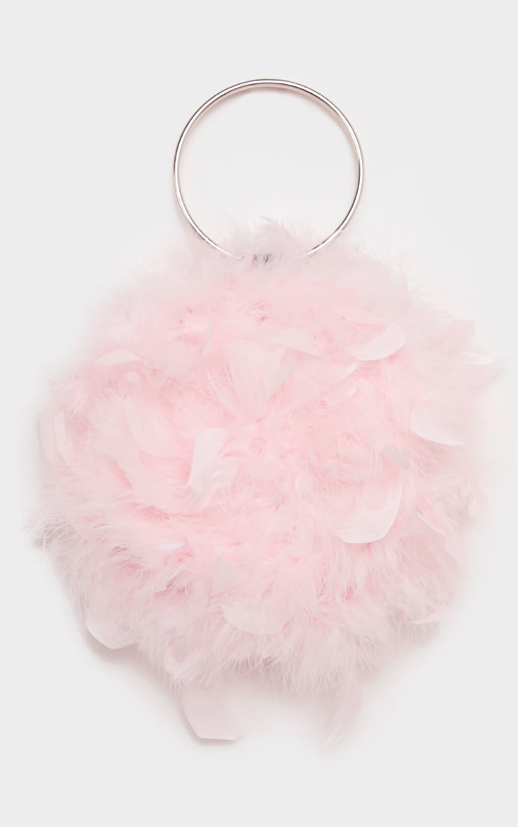 Pink Feather Boa Circle Handed Bag 2