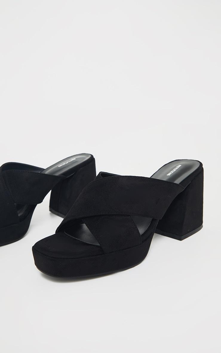 Black Extreme Block Heel Low Platform Cross Strap Mule Sandals 3