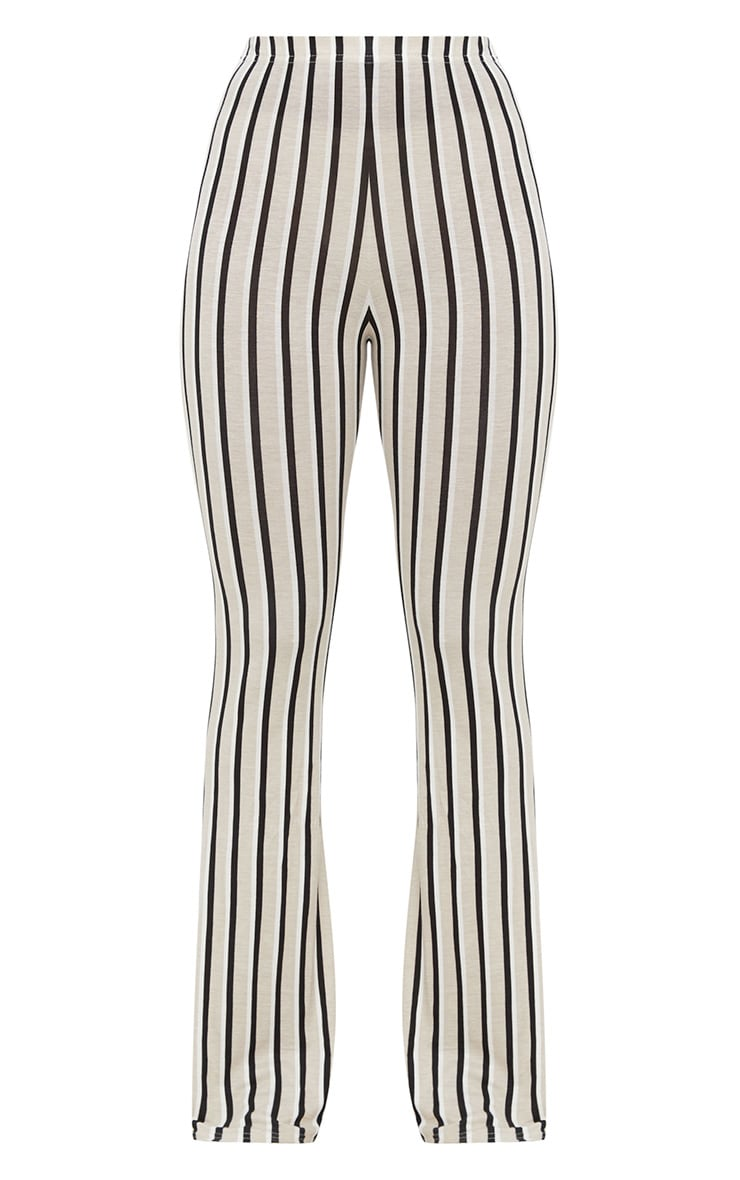 Stone Jersey Pinstripe Flared Trousers 3