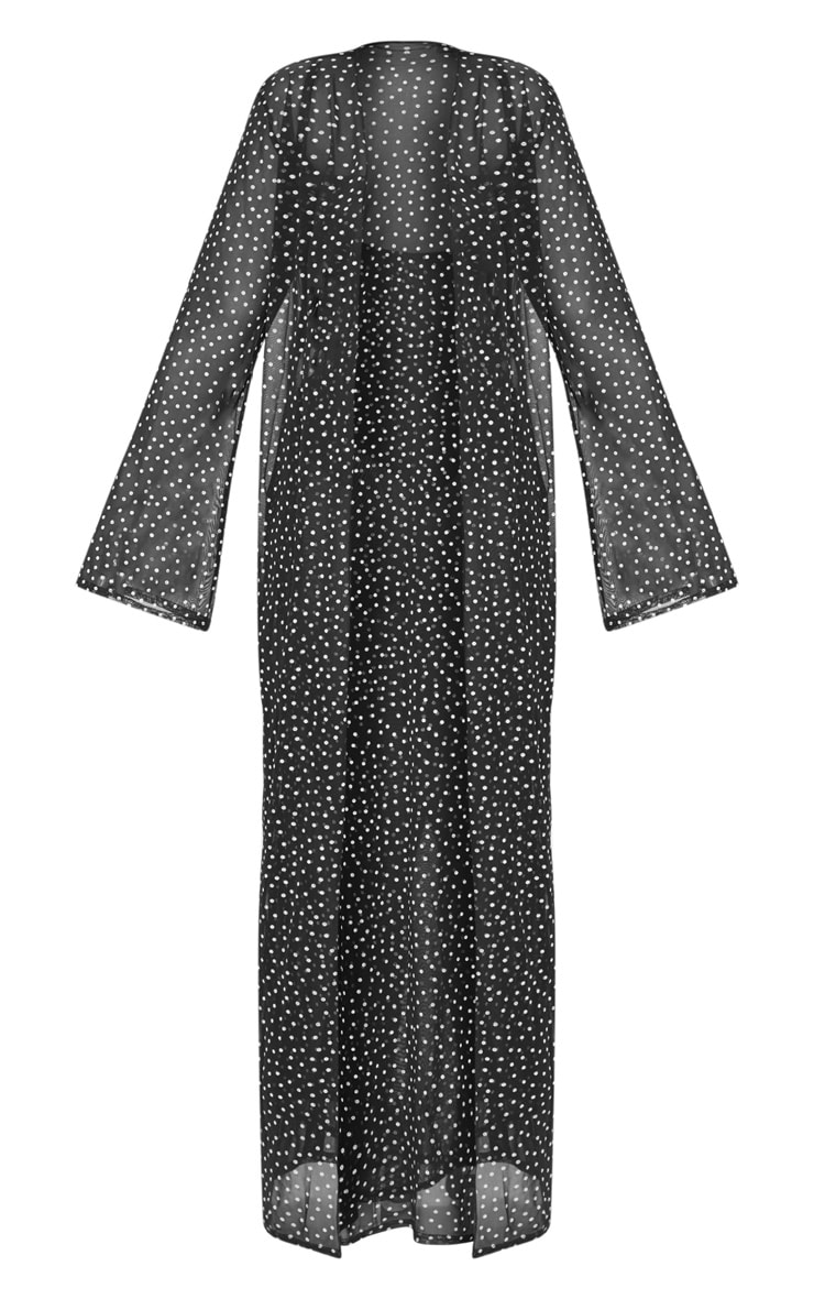 PLT Plus - Kimono long noir en mesh à pois blancs 3
