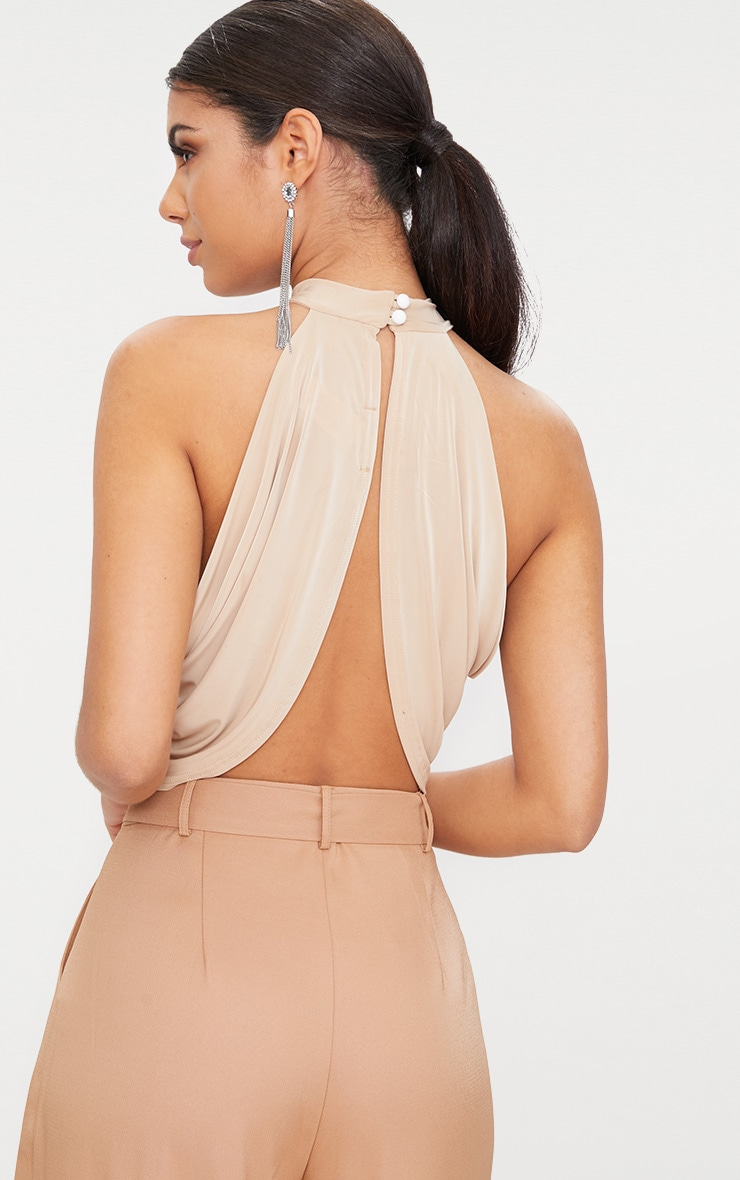 Champagne Neck Wrap Crop Top  2