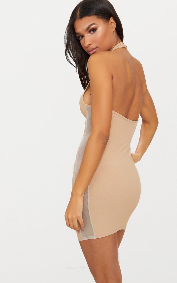 Stone High Neck Mesh Side Bodycon Dress 2